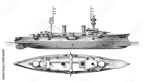 Photo Cruiser SMS Furst Bismarck (Germany) / vintage illustration from Meyers Konversa