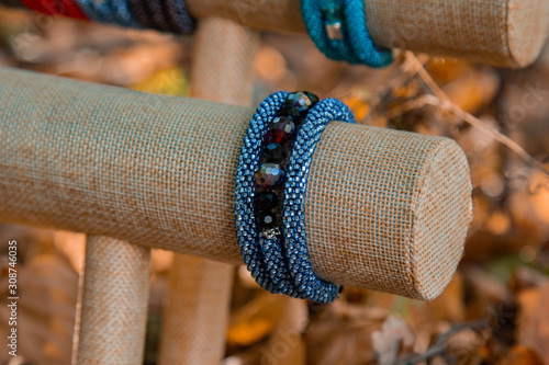 Beautiful, shiny, color bracelet with large beadwork beads Canvas Print
