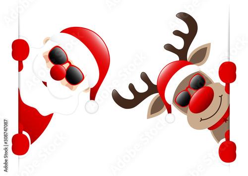 Dunkelroter Weihnachtsmann Und Rentier Mit Sonnenbrille Banner Innen