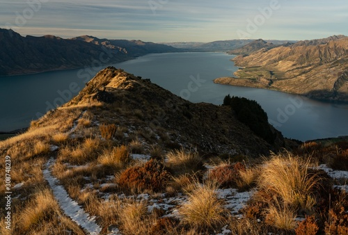 Beautiful mountain view over Lake Hawea in Central Otago New Zealand Canvas Print