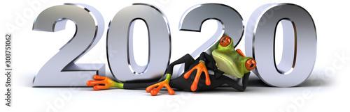 Zabawa 3D zielona żaba kreskówka
