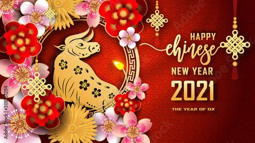 Fototapeta Happy Chinese new year 2021. The year of the Ox. Chinese new year fortune greeting card graphic design background and wallpaper. Red and gold paper cut with plum blossom flower. Asian culture element obraz