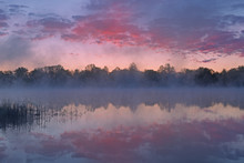 Foggy Landscape At Dawn Of Whitford Lake With Reflections In Calm Water, Fort Custer State Park, Michigan, USA