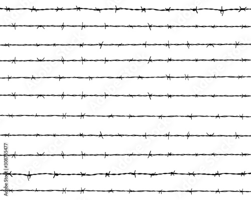 Fotomural Black silhouette of the barbed wire on a white background