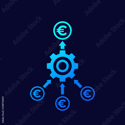 Fototapeta cash flow optimization icon with euro, vector obraz