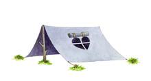 Hiking Or Camping Blue Tent Wa...