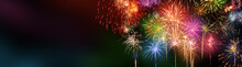 Colorful Fireworks With Wide Dark Copy Space