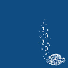 Background With Copy Place With Marine Fish. Classic Blue. Banner With Sea Fish And Bubbles. New Year 2020. Template For Social Media. Layout Design Use For Aquarium Shop, Seaquarium.