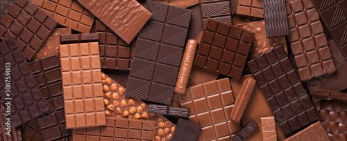 Bitter and milk chocolate background, sweet cocoa dessert. Fototapete