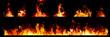 Leinwandbild Motiv Set of Panorama Fire flames on black background.
