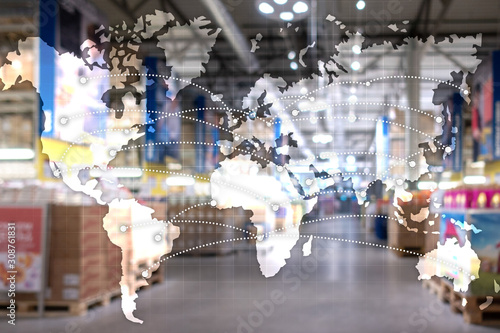 Obraz Map Global Logistics Partnership. Import Export concept. - fototapety do salonu