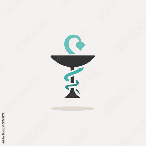 Obraz Pharmacy symbol with chalice and snake. Icon with shadow on a beige background. Medicine vector illustration - fototapety do salonu