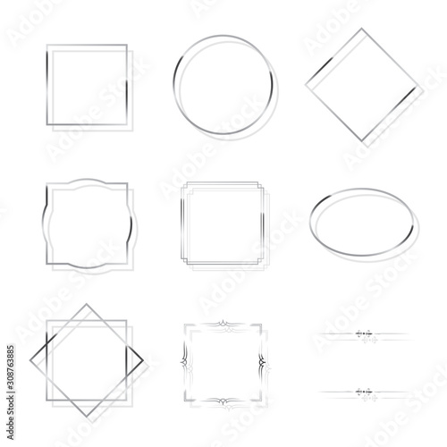 Fototapety, obrazy: Silver shiny frames isolated on white background. Vector golden luxury realistic border set.