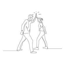 Continuous One Line Man And Woman Give Five. Teamwork Concept. Vector Illustration.