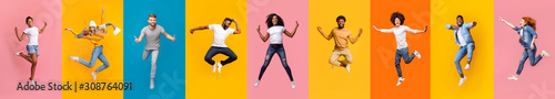 Photo Collage of positive multiracial young people jumping over colorful backgrounds