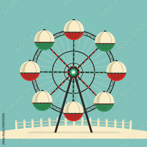 Fototapeta Amusement park Ferris wheel flat color vector icon obraz
