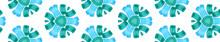 Blue Green Vintage Kaleidoscope Seamless Border Sc