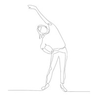 Continuous One Line Woman Doing Warm-up Stretching With Hand Raised. Vector Illustration.