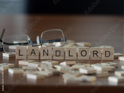 Fotografie, Tablou landlord the word or concept represented by wooden letter tiles