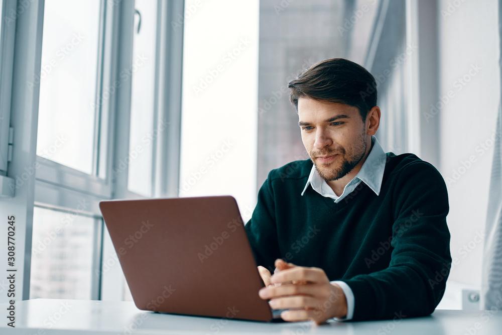 Fototapeta businessman working on laptop in an office