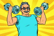 Elderly Man Lifts Dumbbells, F...