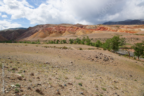altai canyon steppe and mountains at background Fotobehang