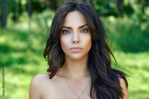 Beautiful woman face with perfect clean skin - close up portrait Canvas Print