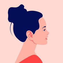 Head Of A Little European Girl In Profile. The Face Of A Happy Child On The Side. Portrait. Avatar. Vector Flat Illustration
