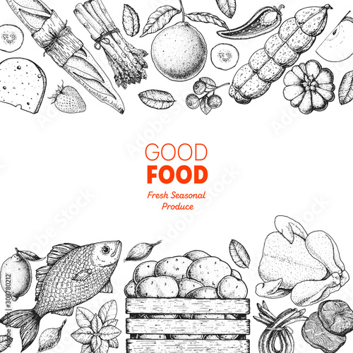 Fototapeta Various food frame. Good food store design concept. Organic food illustration. Farmers market design elements. Hand drawn sketch. obraz