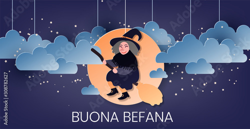 Foto Buona Befana (translation: Happy Epiphany) greeting card template with handwritten lettering, old witch flying on a broom in the night to bring presents