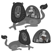 Isolated Black And White Design Of Cartoon Lions Holding Up A City. The Design Is Perfectly Suitable For Clothes Design, Children Decoration, Stickers, Stationary, Tattoos.