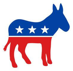 Demokratski magarac vektor ikona. Ravni demokratski magarčev piktogram izoliran je na bijeloj pozadini.