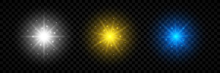Set of three light effect of lens flares