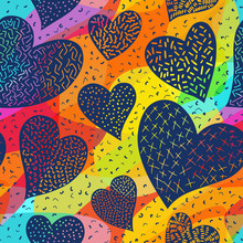 Romantic Seamless Pattern With Cute Images Of Hearts On A Bright Background. The Style Of Children's Drawing.