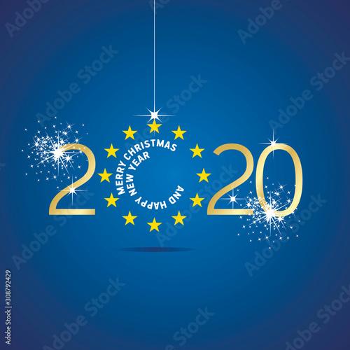 Fotografía  Merry Christmas Happy New Year 2020 Europe yellow stars flag ball blue backgroun