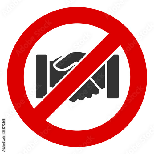 No handshake vector icon. Flat No handshake pictogram is isolated on a white background. Fototapete