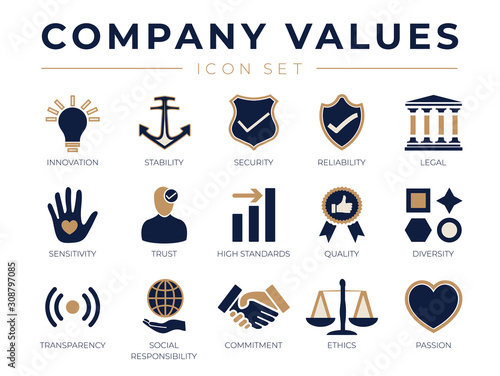 Business Company Values icon Set Fototapete