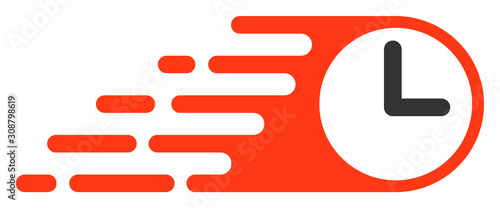 Rush clock vector icon. Flat Rush clock pictogram is isolated on a white background.