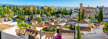 Panoramic Sight Of The Alhambra Palace And The Albaicin District In Granada. Andalusia, Spain.