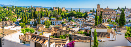 Panoramic sight of the Alhambra Palace and the Albaicin district in Granada. Andalusia, Spain. - 308802271