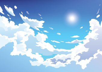 Vektorski oblaci plavog neba. Anime čisti stil. Dizajn pozadine