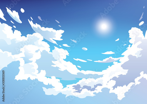 Vector blue sky clouds. Anime clean style. Background design - 308803069