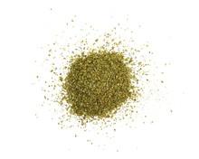 Dry Marjoram Spice (Origanum Majorana). Heap Of Ground Marjoram Leaves Isolated On White.