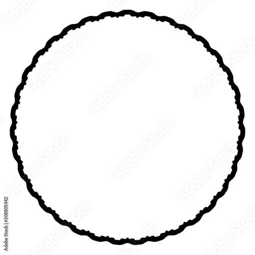 Fototapeta Rounded frame simple black white stamp put text decor vintage theme simple single. Part Art web sign lace icon style copy space blank empty card label badge Kite rays oval wave curl shape swirl lines obraz na płótnie