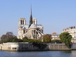 View of Notre Dame Cathedral from a pleasure boat on the Seine.