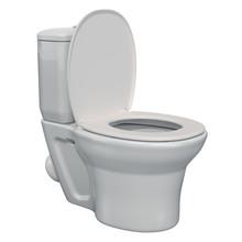 White Toilet Bowl, 3D Rendering