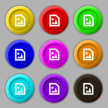 File JPG Icon Sign. Symbol On Nine Round Colourful Buttons.