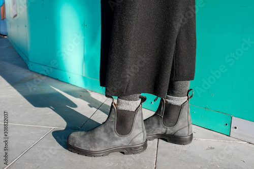 Chelsea boots classic black leather rubber sole Wallpaper Mural