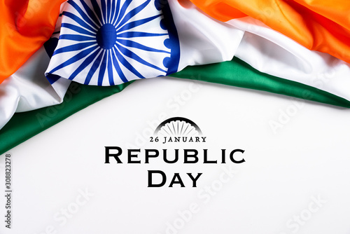 Obraz Indian republic day concept. Indian flag with the text Happy republic day against a white background. 26 January. - fototapety do salonu
