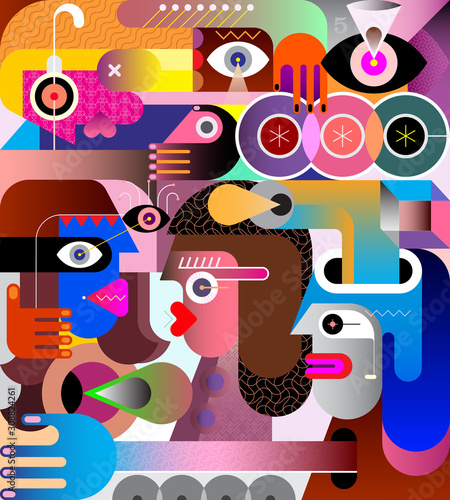 Tuinposter Abstractie Art Abstract Art Portrait